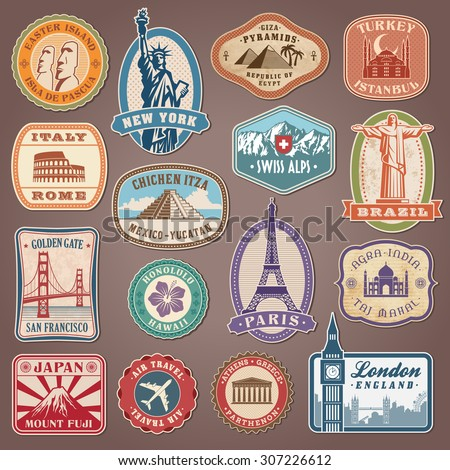 Collection of Vector labels with famous monuments and landmarks - stock vector