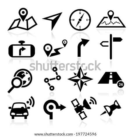 Collection of vector navigation icons - maps, location, GPS. - stock vector