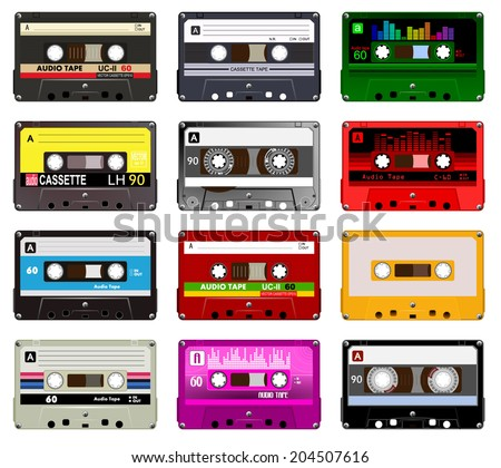 Collection of vector retro audio cassettes. Set of different colorful music tapes. Isolated on white background. Vector art eps10  - stock vector