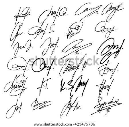 Collection of vector signatures fictitious Autograph. Vector illustration. - stock vector