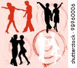 Collection of vector silhouettes dancing people - stock vector