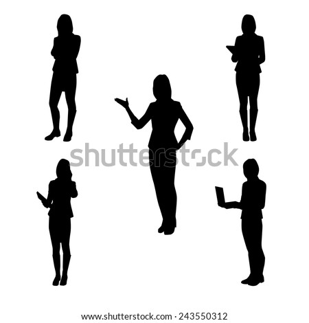 Collection of vector silhouettes of women at work - at school, at the office, at the presentation, the telephone, with folded arms, with book and laptop - stock vector