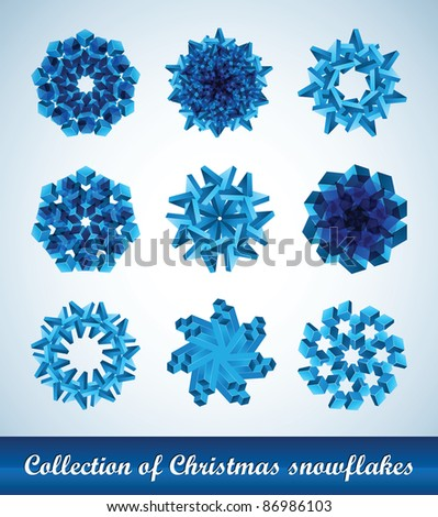 Collection of vector snowflakes - stock vector