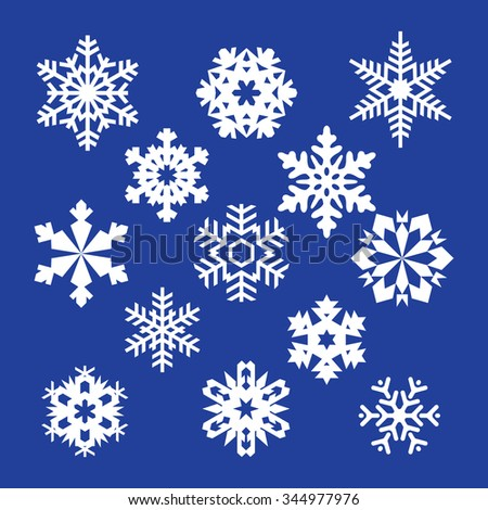 collection of vector snowflakes, white snowflakes, white snowflakes on a white background