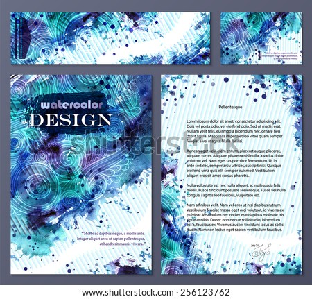 Collection of vector template corporate identity. Business artworks with watercolor splash. Background for web, printed media design. Banner, business card, flyer, invitation, greeting card, postcard. - stock vector