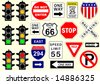 Collection of vector traffic sign icons - stock vector