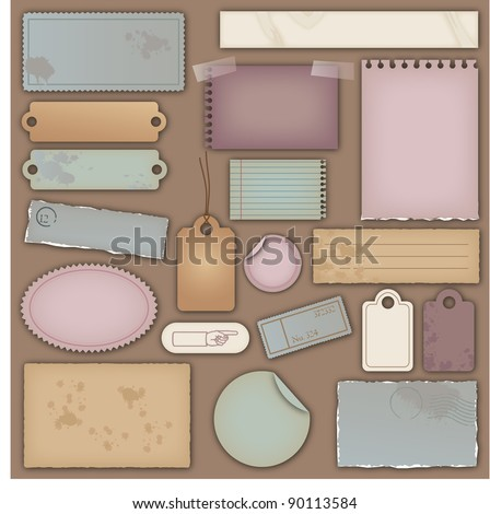 Collection of Vector Vintage Paper Design Elements - stock vector