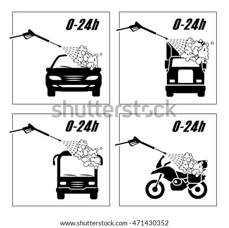 Collection of very useful icons for car wash.   Illustration presenting washing of cars, trucks, bus and motorcycle