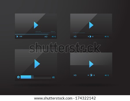 Collection of video player for web - stock vector