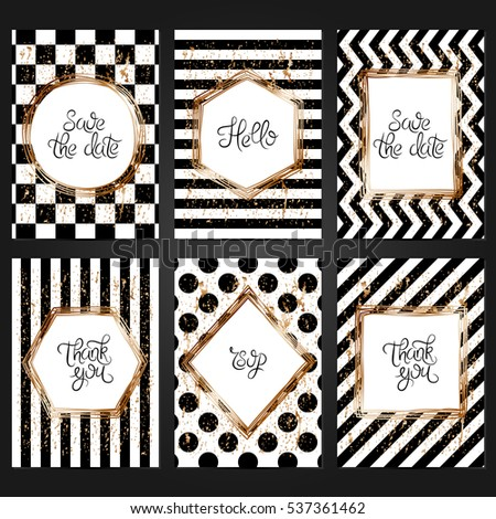 Collection 6 Vintage Card Templates Black Stock Vector HD (Royalty ...