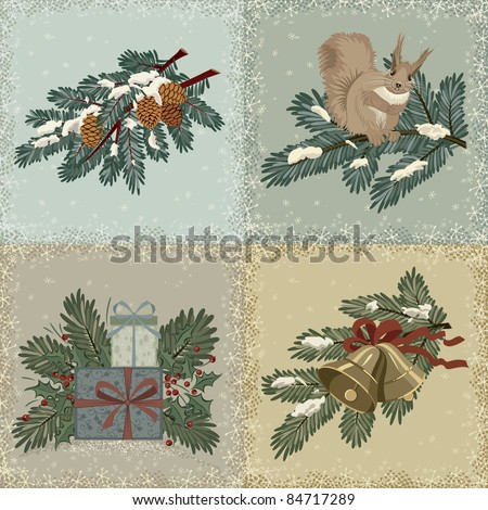 Collection of vintage christmas cards - stock vector