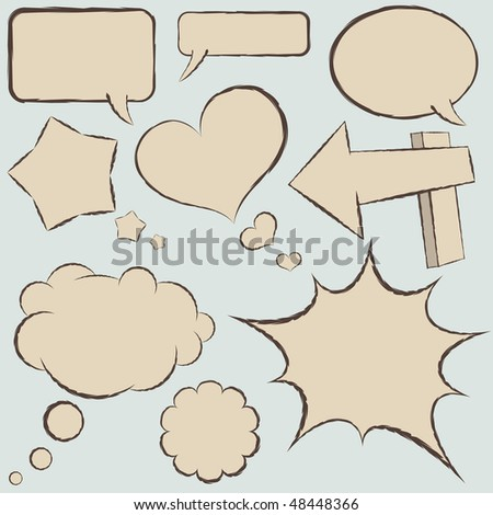 Collection of vintage comics balloons in hand drawn style. - stock vector