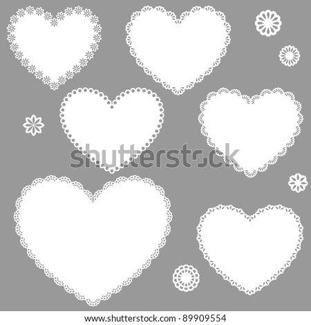 Collection of vintage designed hearts - stock vector