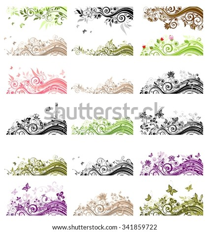Collection of vintage floral borders - stock vector