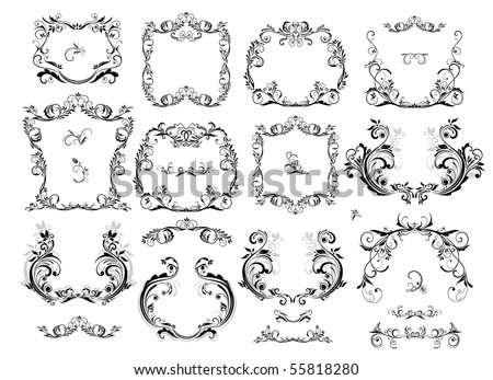 Collection of vintage frame - stock vector