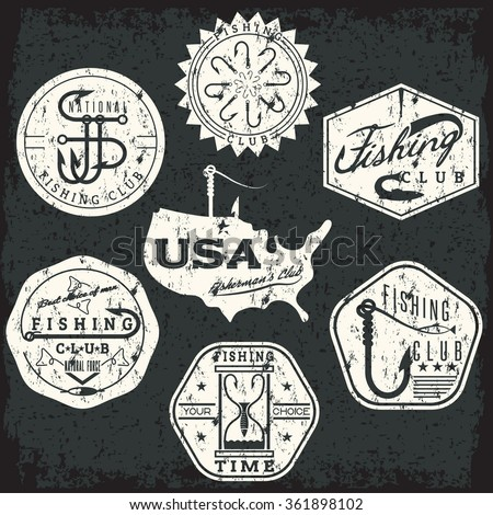 collection of vintage grunge labels on fishing theme - stock vector