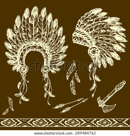 Collection of vintage hand drawn design elements: peace pipe, Indian hat, dream catcher, ax, feathers and stars. Vector illustration - stock vector