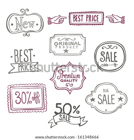 Collection of vintage hand-drawn doodles representing sales labels. - stock vector