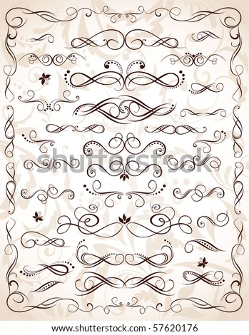 Collection of vintage heading - stock vector