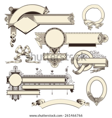 collection of vintage headpieces, banners and scrolls - stock vector