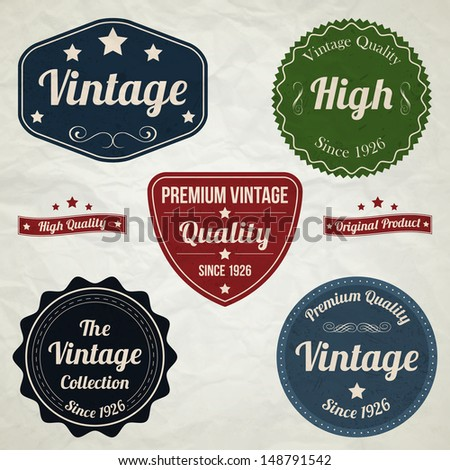 Collection of vintage labels - stock vector