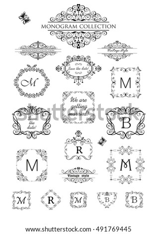 Collection vintage labels headers frames wedding stock vector collection of vintage labels headers and frames for wedding invitation greeting card logo stopboris Image collections
