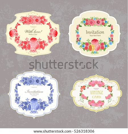 collection of vintage labels with flowers