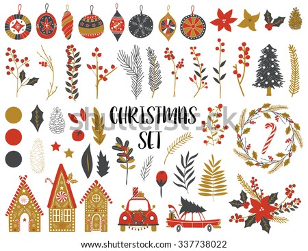 Collection of Vintage Merry Christmas And Happy New Year flowers. Greeting stylish illustration of winter romantic flowers, leafs, wreaths, toys. Template for Scrapbooking,Stickers,Planner,Invitations - stock vector