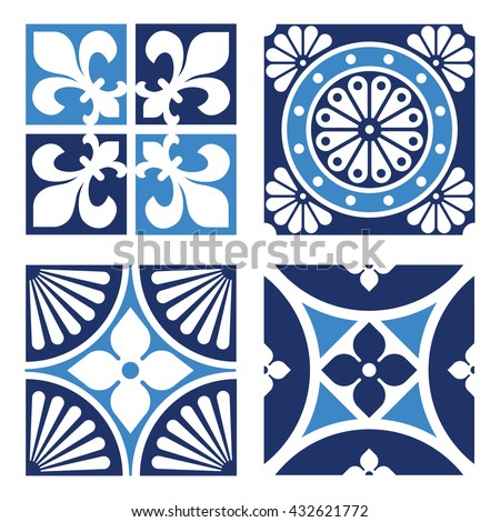 Collection of Vintage Ornamental Patterns in tones of blue. - stock vector