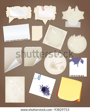 Collection of vintage paper sheets - stock vector