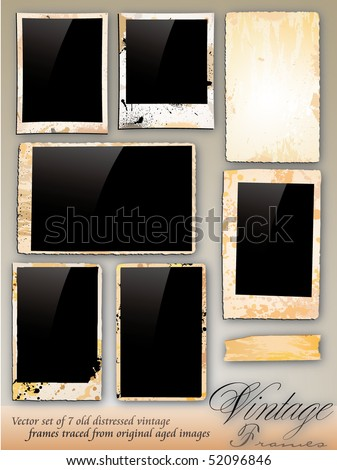 Collection of Vintage Photo Frames traded from original aged photography - stock vector