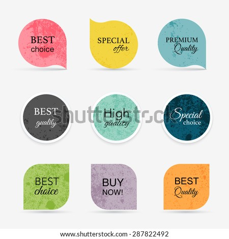 Collection of vintage promo seals/stickers. Isolated vector illustration - stock vector
