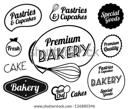 Collection of Vintage Retro Bakery Badges And Labels - stock vector