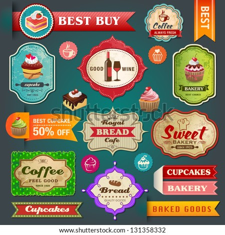 Collection of vintage retro bakery labels, badges and ribbons - stock vector