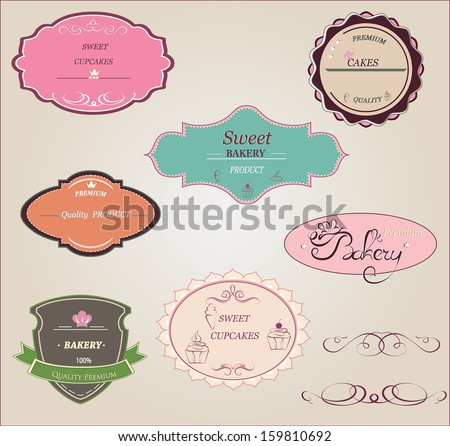 Collection of vintage retro bakery logo badges and labels.