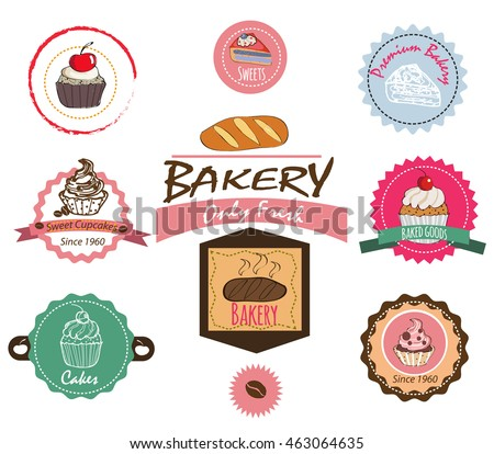 Cake Artist Bakery Champaign Il : Collection Vintage Retro Bakery Logo Badges Stock Vector ...