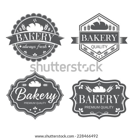 Collection of vintage retro bakery logo labels  - stock vector