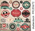 Collection of vintage retro grunge coffee and restaurant labels, badges and icons - stock photo