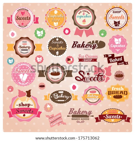 Collection of vintage retro ice cream and bakery labels, stickers, badges and ribbons, vector illustration - stock vector