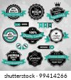 Collection of vintage retro labels, badges and icons - stock vector