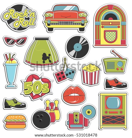 Collection Vintage Retro 1950 S Style Stickers Stock ...