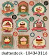 Collection of vintage retro various cupcakes labels, badges and icons - stock photo