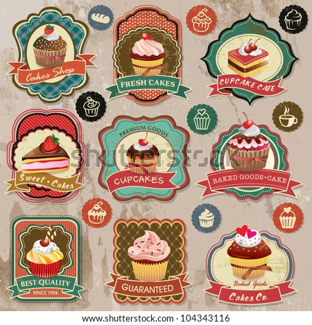 Collection of vintage retro various cupcakes labels, badges and icons - stock vector