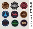 Collection of vintage round badges - stock vector