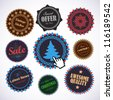 Collection of vintage round badges. Vector illustration. - stock vector