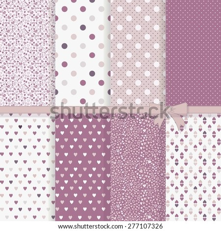 collection of vintage seamless abstract patterns with hearts - stock vector