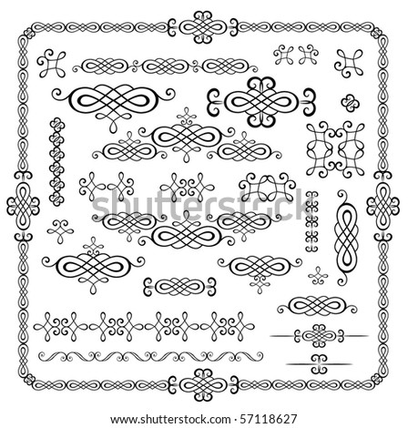 Collection of vintage stencil - stock vector
