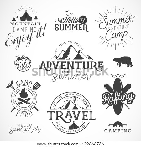 Collection of Vintage Summer Camp, Adventure and Travel Design Elements - stock vector