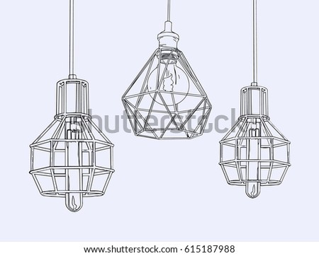 Collection Of Vintage Symbols Light Bulbs And Lamps Edison Hand Drawn Sketch