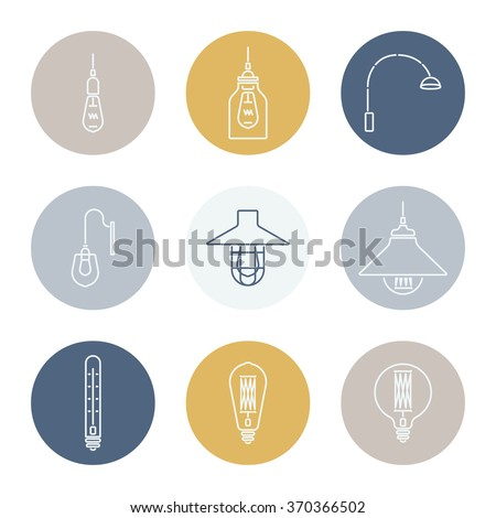 Collection of vintage symbols light bulbs and lamps. Sticker. Edison light bulbs.Template for design. Vector illustration. Isolated  - stock vector
